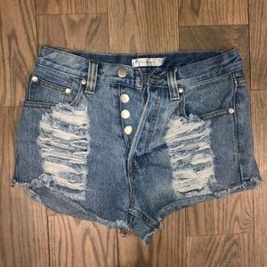 Minkpink distressed high waisted shorts